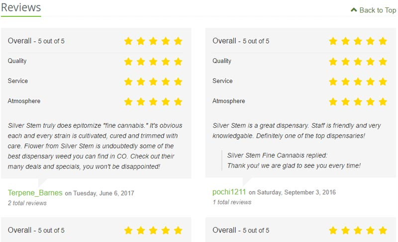 Look for dispensaries with 5 star ratings, like Silver Stem
